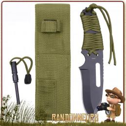 Couteau de survie Manche Paracorde 550 Vert Armée Rothco france et pierre à feu firesteel