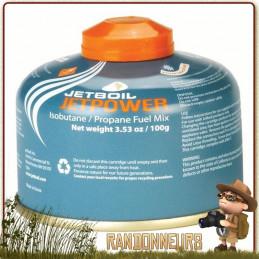 Cartouche Gaz JETBOIL JETPOWER 100g mélange de gaz composé de isobutane, propane et butane pour réchaud randonnée
