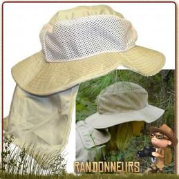 chapeau de rafraichissement avec protège nuque amovible fonctionne sous le simple procédé de l'évaporation de l'eau