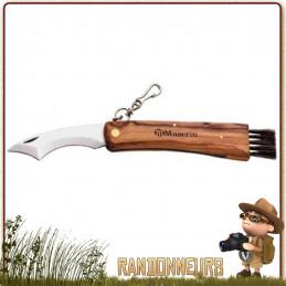 Couteau à champignons 8800 Maserin avec manche bois d'olivier, lame spéciale courbée en inox avec brosse