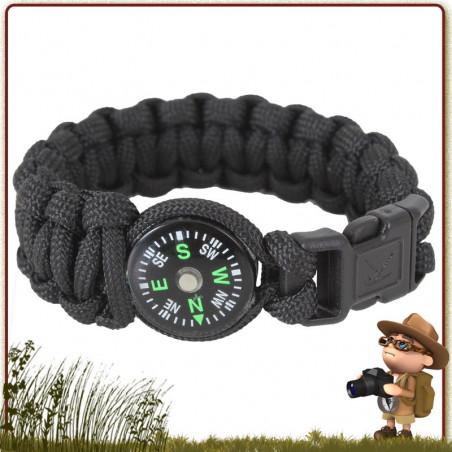 Bracelet Paracord NOIR avec boussole Rothco