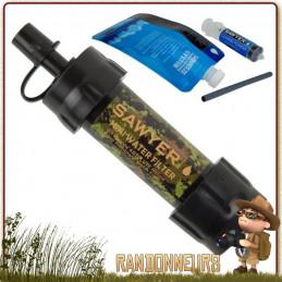 filtre paille mini sawyers camo, une paille filtrante légère avec fibres creuses pour l'armée militaire