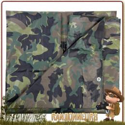 Bache Tarp 280 par 400 Camouflage 100 INC pour abri bivouac bushcraft survie militaire