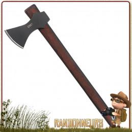 Hache guerrier Viking CRKT Freya acier carbone 1055 revêtement noir et manche bois hickory