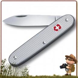 Couteau Suisse Victorinox STURDY lame 6.5 cm. Manche 9.2 cm alox quadrillé teinté argent