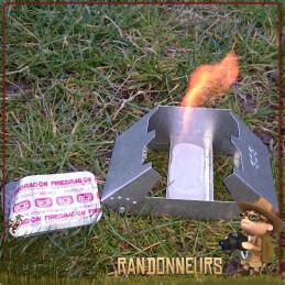 Kit Réchaud Pliable avec pare-vent et gel éthanol BCB composé d'un réchaud pliant bcb et firedragon alcool gélifié