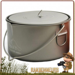 Casserole Pot Titane Toaks 2000ml avec anse est un pot marmite en titane ultra léger pour la randonnée ultra light.