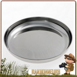Assiette Camping Inox diamètre 18.5 cm cao L'inox assurant résistance et longévité de cette assiette inox bushcraft