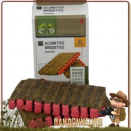 Boite de 20 allumettes briquettes pour l'allumage d'un feu de camp bushcraft à base de bois et de cire longue durée