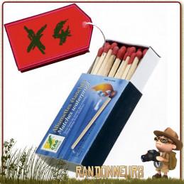 Lot 4 Boites Allumettes Imperméables CAO pour alluler un feu de camp bushcraft survie nature