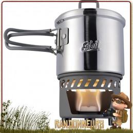 Set de cuisson pour randonner léger ESBIT CS585ST comprenant un réchaud Essence solide ultra léger et popote inox