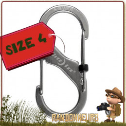 S-BINER métal microlock, double mousqueton inox, deux clips de fixation distincts et opposés avec bloquant