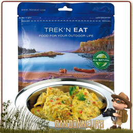 Sachet de Oeufs brouillés aux oignons Trek'n Eat lyophilisé, simple et rapide à préparer en versant simplement de l'eau chaude