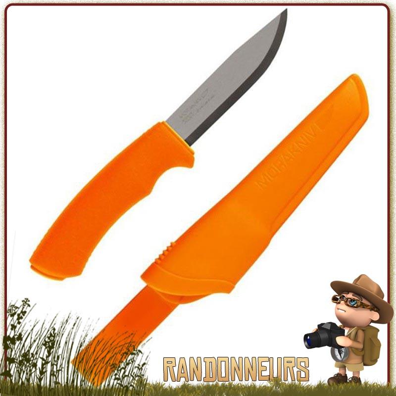Poignard Bushcraft Mora knives Orange de qualité inox suédois