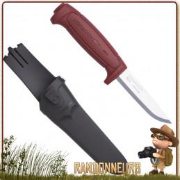 Couteau Bushcraft Nature et Pêche MORA BASIC 511 Rouge, spécialement conçu pour le bushcraft, la survie