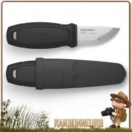 Poignard Mora ELDRIS Noir, un couteau avec lame inox de 5.6 cm de type plate semelle