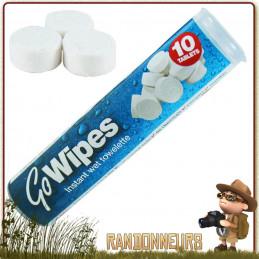 serviettes compactes en tissu GO WIPES. Humidifiez une serviette compacte GO WIPES avec de l'eau pour linge de toilette