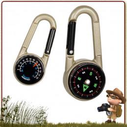 Micro boussole BCB intégrée dans un mousqueton, comprenant également un cadran thermomètre