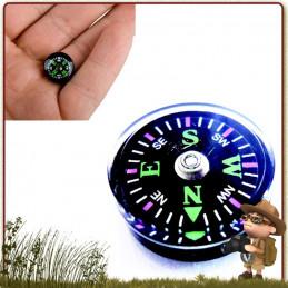 Boussole compas bouton pour l'intégrer dans un kit de survie, sa poche et son équipement de randonnée légère
