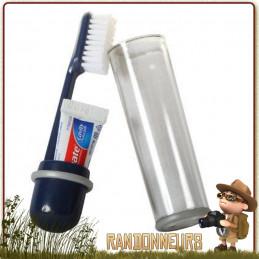 Brosse à dents de voyage cao avec étui de rangement qui est en finalité son propre manche. Brosse à dents démontable