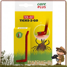 Mini Pince à tiques en forme de levier Care Plus pour ôter les tiques en cas de morsure.
