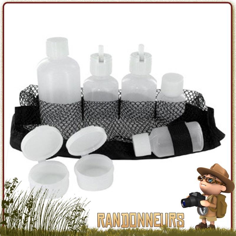 Kit de flacons de voyage Highlander composé de différents récipients et bouteilles et d'une pochette de transport