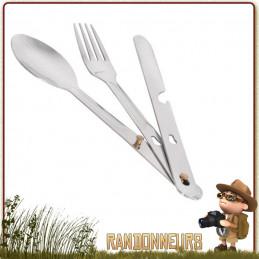 Set couverts de camping Inox (couteau, cuiller, fourchette). Pratique, ce set de couverts en acier inoxydable sera très robuste