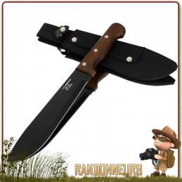 Machette lame tout acier inox, lame noire affutée avec manche en pacca, taille de coupe de 25 cm full tang